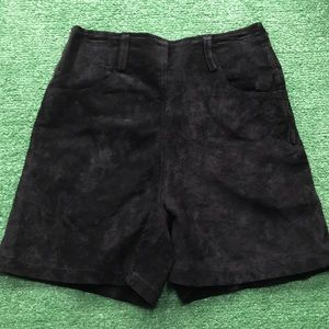 NWT black leather shorts express Sz 3/4 flat front